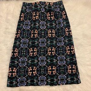 J, Crew Women's Size 4 Black Floral A-Line Skirt